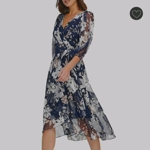 DKNY Floral Print Fit and Flare Blue Dress size 14